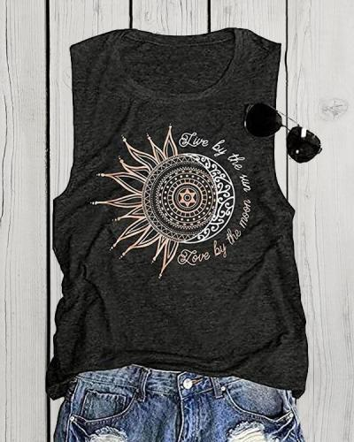 Sunflower Sketch Printed Tanks