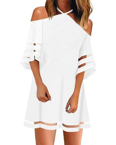 Solid 1/2 Sleeves Shift Above Knee Casual Dresses