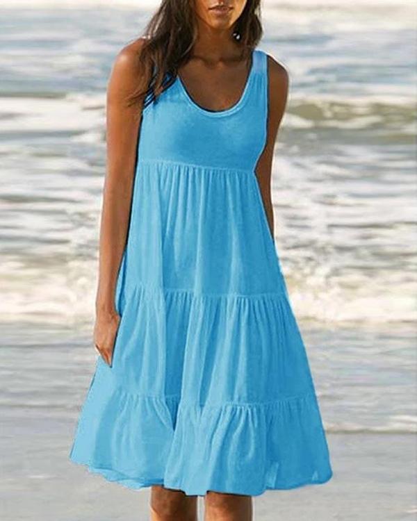 Solid Sleeveless Beach Midi Dress