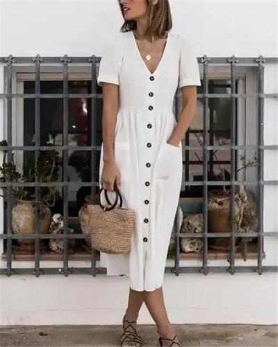 Solid Short Sleeve Button  Midi Dress