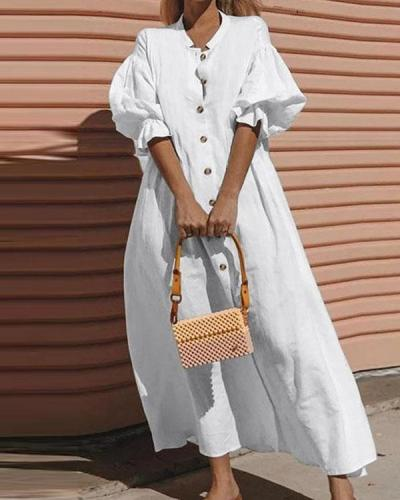 Solid Buttoned Balloon Sleeves Loose Maxi Dress