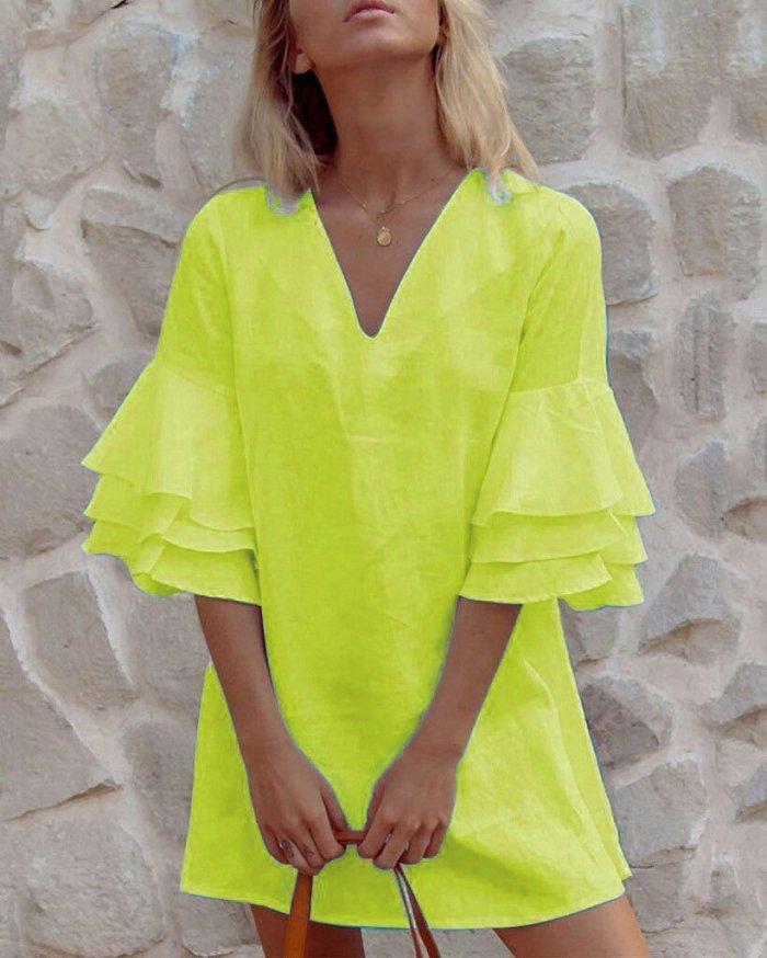 Solid Women Bohemian Fashion Summer Holiday Mini Dresses