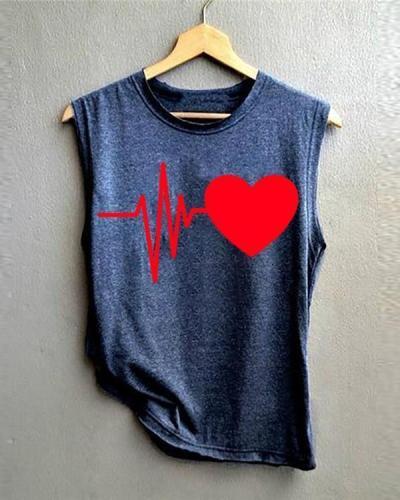 Summer Women New Heart-Shaped Print Vest Shirt