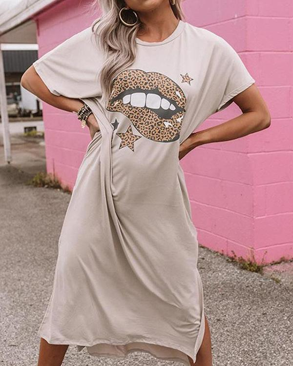 Leopard Lips T-Shirt Print Shift Midi Dress