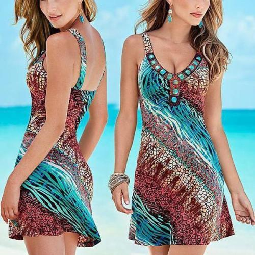 V Neck Blue Women Daily Geometric Dresses