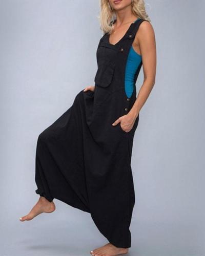 Sleeveless Bib Pants Harem Trousers Jumpsuit Playsuit Overalls