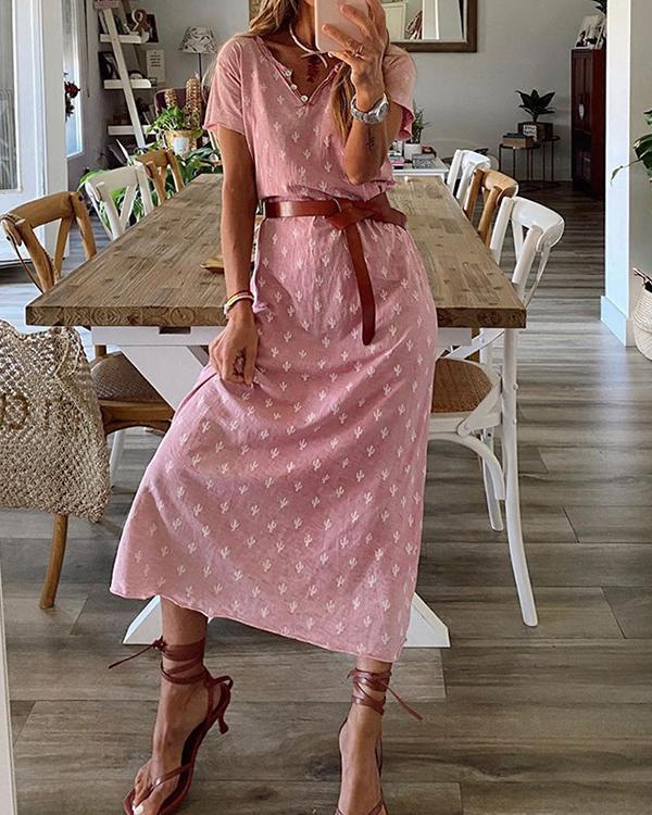 Holiday Graphic Print Buttoned V-neck Midi Dress with Belt