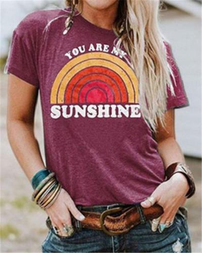 Sunshine Round Neck Casual Summer Women Holiday Blouse
