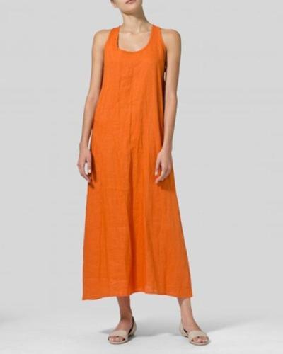 U-Neck Women Summer Dresses A-Line Dresses