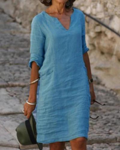 Solid V-Neck Long Sleeve Casual Summer Dresses