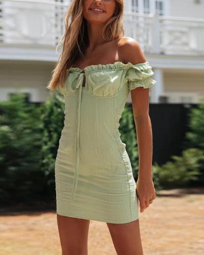 Sexy One-Neck Women's Fashion Lace Up Slim Fit Mini Dress