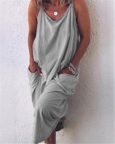 Stripe Sleeveless Sexy Elegant Women Fashion Maxi Dresses