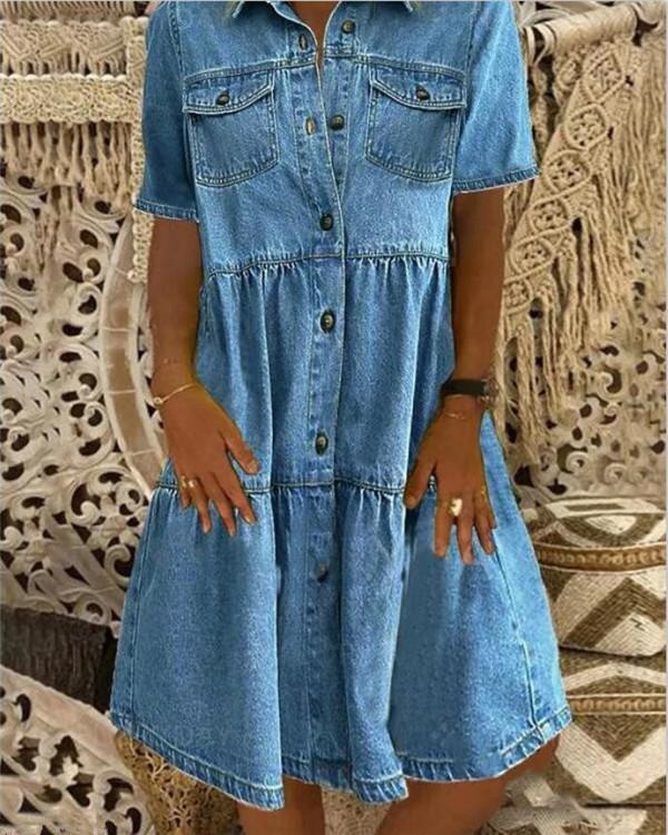 Sky Blue Denim Daily Casual Shirt Collar Short Sleeve Buttoned Pockets A-line Dresses