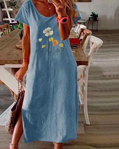 Tunic Floral Round Neckline Casual Midi Plus Dress