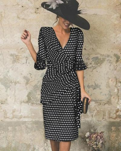 V-Neck Cutout Ruffle Polka Dot Petal Sleeve Bodycon Dresses