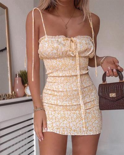 Women's Fashion Lace-up Sling Print bodycon Mini Dress