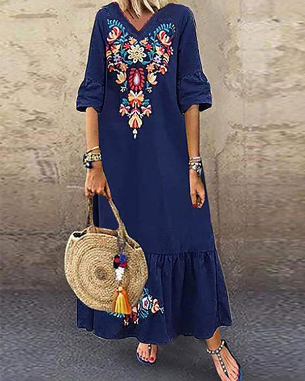 Casual Printed V Neck Short Sleeve Plus Size Maxi Dress