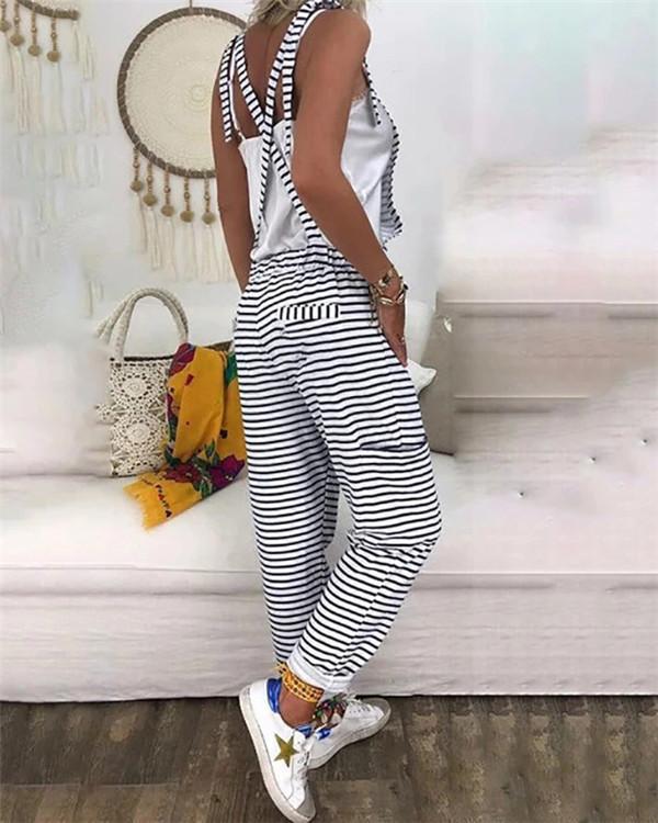 Striped Printed  V Neck Bare Back Sleeveless Jumpsuit