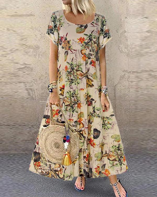 Vintage Floral Printed Short Sleeve Overhead Maxi Dress