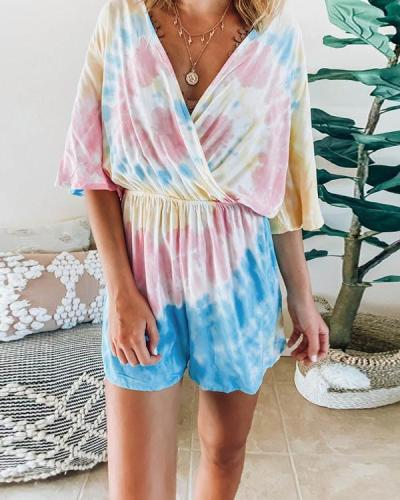 Tie Dye Drawstring Deep V-neck Casual Tracksuit Short Jumpsuit