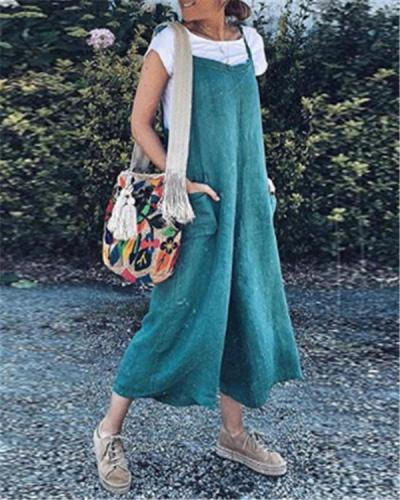 Sleeveless Linen Loose Solid Casual Loose  Daily Jumpsuits