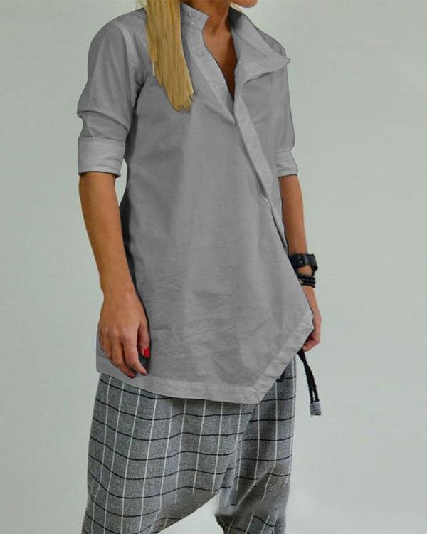 Solid Color Asymmetrical Button Casual Blouse