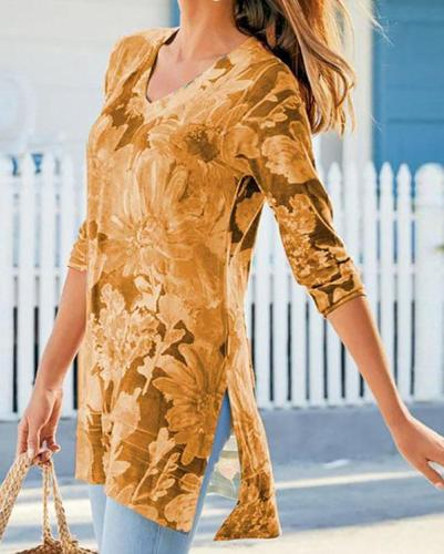 Slit Floral Print V Neck Long Sleeve T-shirts