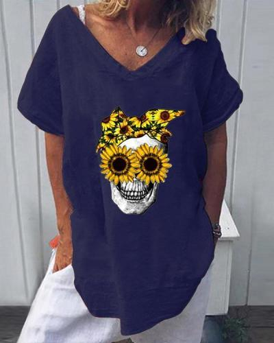Skull Floral Print Casual V-Neckline Short Sleeve Blouses