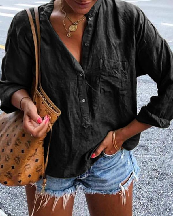 Solid Pockets Long Sleeve Blouses