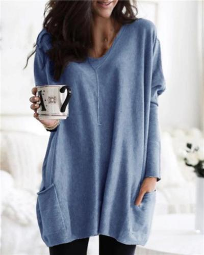 Solid Long Sleeve V Neck Pockets Casual Blouses Tops