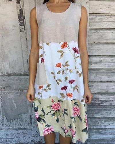 Color-block Floral Print Sleeveless Paneled Vintage Midi Dress