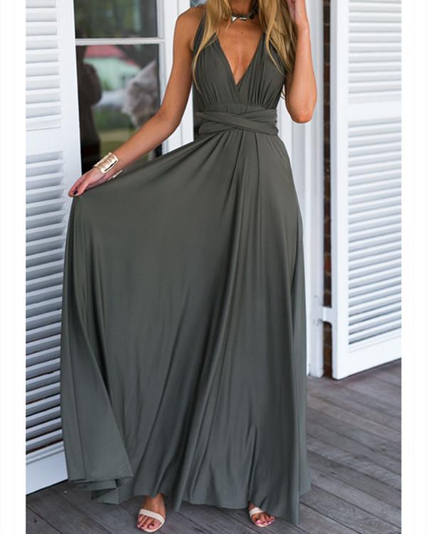 Summer Beach Mutirope Strap Sexy Maxi Dress