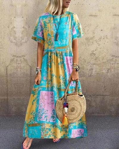 Summer Printed Pleated Round Neck Short Sleeve Dress