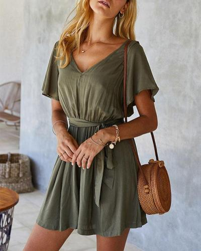 Solid V-neck Lace-up Waist With Belt Mini Dress