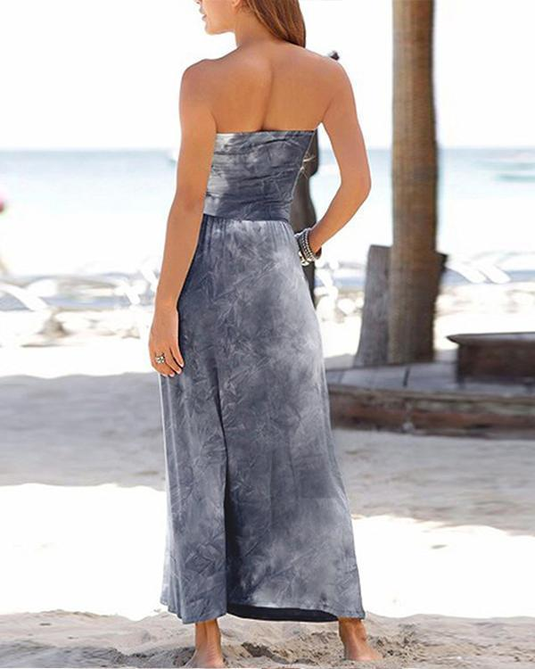 Strapless Gradient Print Paneled Elegant Backless Maxi Dress