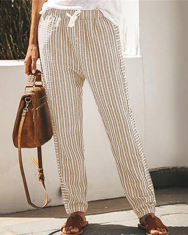 Striped Casual Elastic Waist Wide Leg Pants