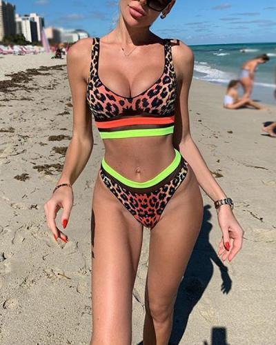Sexy Orange Leopard Stitching Split Bikini Swimwear