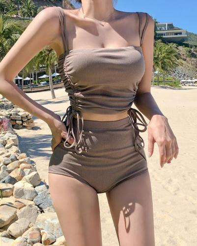 Vacation Strap Solid Color Two Piece Swimsuit