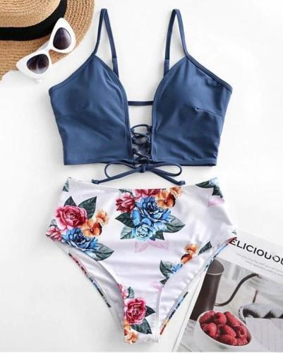 Lace-up Floral Leaf Tankini Swimsuit
