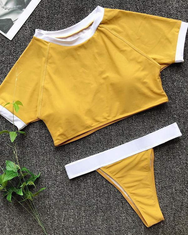 Sports Swimsuit Half Sleeve Swimsuit Stitching Bikini