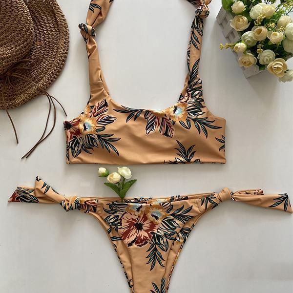 Sexy Tied Straps Floral Bikini Set
