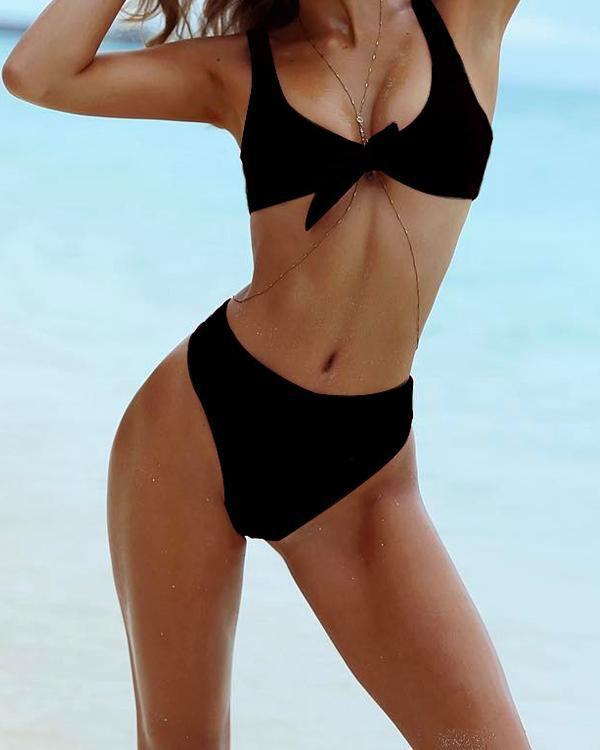 Summer Beach Bikini Solid Color Panty Wing Delta