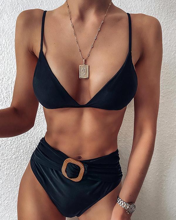 V-neck Solid Spaghetti Strap Bikini Set
