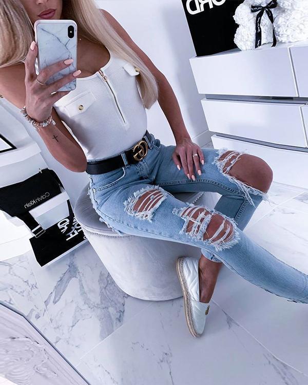 Women Sexy Zipper Skinny Tank Top Vest Sleeveless Girls Summer 2020 Fashion Tight Top