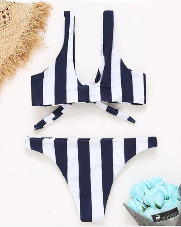 Striped bandage sexy split bikini