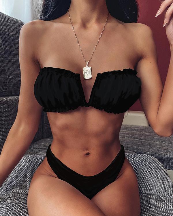 V Wired Ruched Bandeau Bikini Set