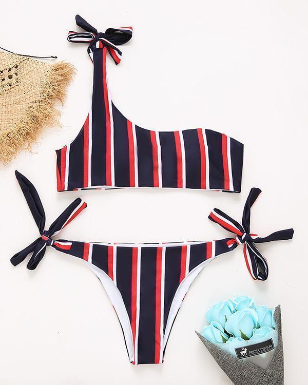 Striped Knotted Bikini Set