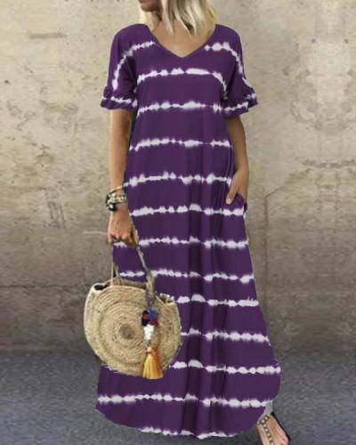 V-Neck Ruffle Sleeve Striped Printed Maxi Dress