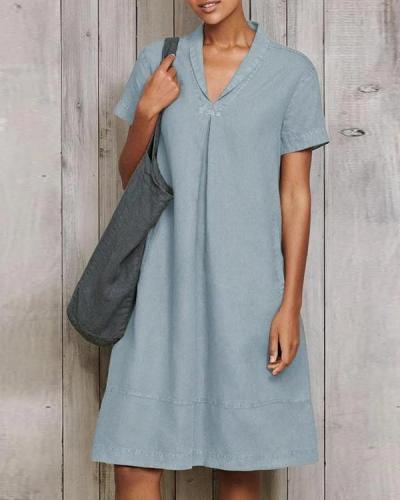 Plain V-Neck Retro Loose-Fitting Dress