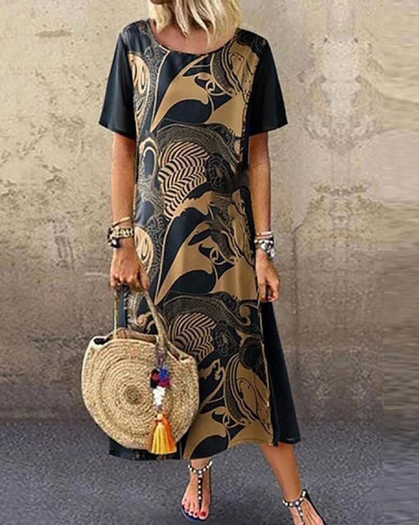 Vintage Printed Short Sleeve Round Neck Midi Dress
